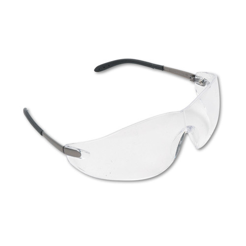 Crews 135-S2110 Clear Lens Blackjack Wraparound Chrome Plastic Frame Safety Glasses
