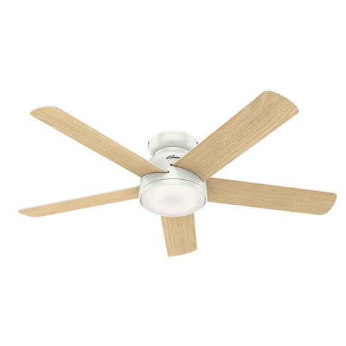 Hunter 59481 54 in. Romulus Fresh White Wifi Ceiling Fan with LED Light and Remote image number 1