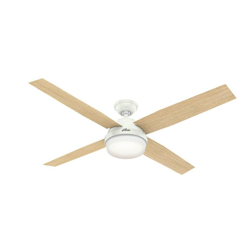 Hunter 59442 60 in. Dempsey with Light Fresh White Ceiling Fan with Light and Handheld Remote image number 6
