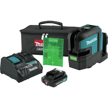 Makita SK105GDNAX 12V max CXT Lithium-Ion Cordless Self-Leveling Cross-Line Green Beam Laser Kit (2 Ah)