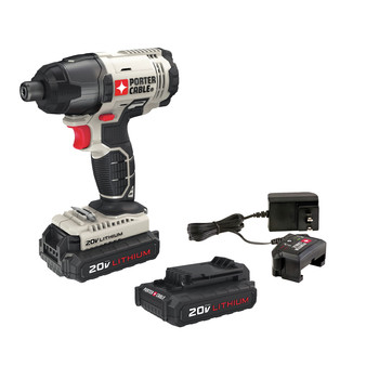 Porter-Cable PCC641LB 20V MAX 1.3 Ah Cordless Lithium-Ion 1/4 in. Hex Impact Driver Kit image number 0