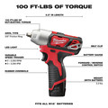 Milwaukee 2463-22 M12 12V Cordless Lithium-Ion 3/8 in. Impact Wrench Kit image number 2