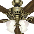 Hunter 53063 52 in. Studio Traditional Antique Brass Walnut Indoor Ceiling Fan with 4 Lights image number 7