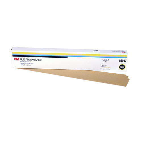 3M 2567 Production Resinite Gold Sheet 2-3/4 in. x 17-1/2 in. P220A (50-Pack) image number 0