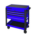 Sunex 8035XTBL 3 Drawer Slide Top Utility Cart with Power Strip (Blue) image number 0