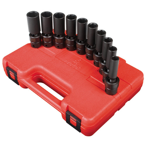 Sunex 3660 10-Piece 3/8 in. Drive Metric Universal Deep Impact Socket Set image number 0