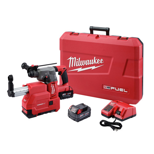 Milwaukee 2715-22DE M18 FUEL 18V Cordless Lithium-Ion 1-1/8 in. SDS Plus Rotary Hammer and HAMMERVAC Dedicated Dust Extractor Kit
