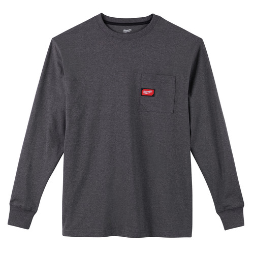 Milwaukee 602G-L Heavy Duty Long Sleeve Pocket Tee Shirt - Gray, Large image number 0