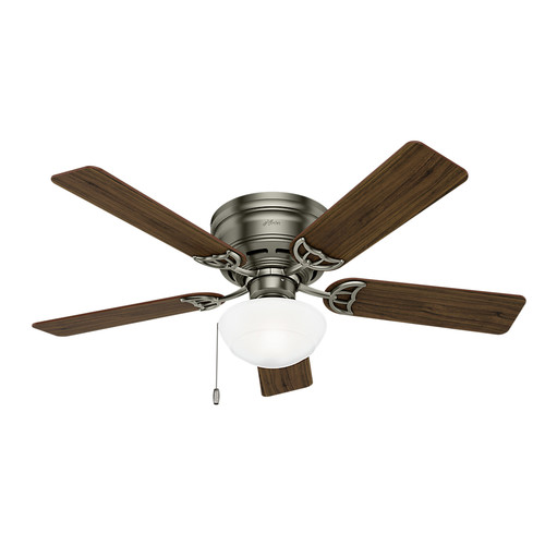 Hunter 53074 52 in. Low Profile III Plus Antique Pewter Ceiling Fan with Light