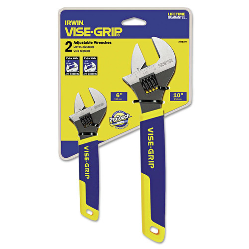 Irwin 2078700 Two-Piece Adjustable Wrench Set, 6 in. And 10 in. Long image number 0
