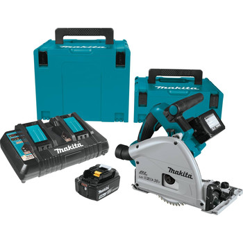 Factory Reconditioned Makita XPS01PTJ-R 18V X2 5.0 Ah Cordless Lithium-Ion Brushless 6-1/2 in. Plunge Circular Saw Kit image number 0
