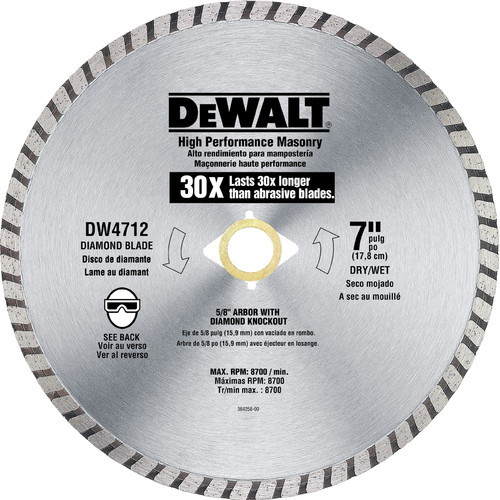Dewalt DW4712B 7 in. High Performance Diamond Masonry Blade image number 0