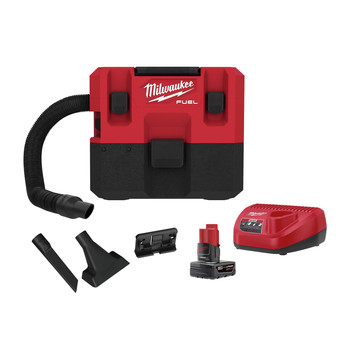 Milwaukee 0960-21 M12 FUEL Lithium-Ion Brushless 1.6 Gallon Cordless Wet/Dry Vacuum Kit (6 Ah)