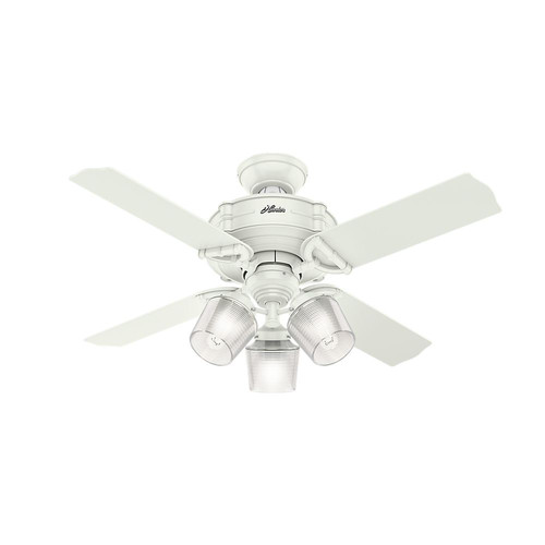 Hunter 52262 44 in. Brunswick Fresh White Ceiling Fan with Light and Handheld Remote image number 0