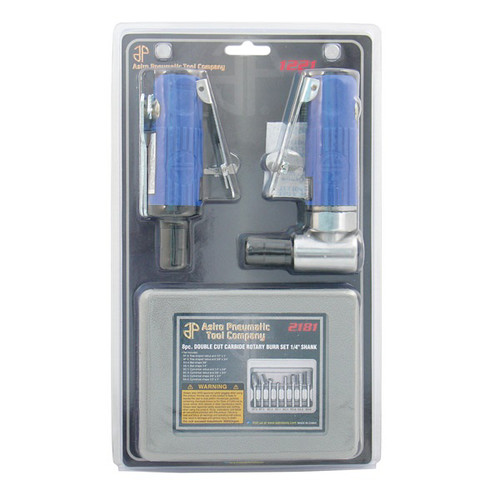 Astro Pneumatic 1221 1/4 in. Angle & Mini Air Die Grinder Combo Kit image number 0