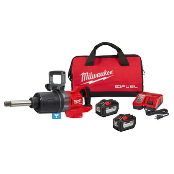 Milwaukee 2869-22HD M18 FUEL Brushless Lithium-Ion Extended Anvil D-Handle High Torque 1 in. Cordless Impact Wrench Kit (12 Ah)