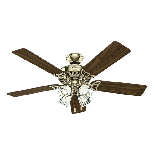 Hunter 53066 52 in. Studio Series Bright Brass Finish Ceiling Fan with Light image number 0