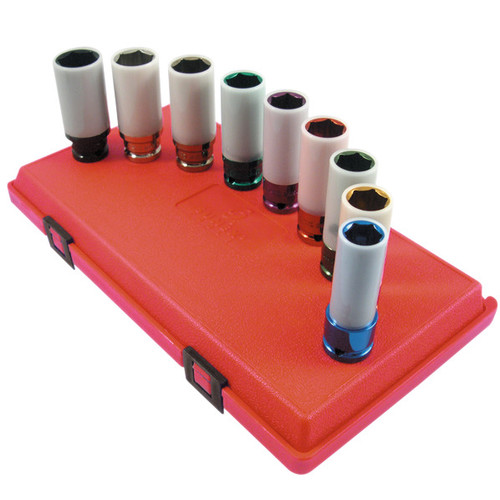 Sunex 2849 9-Piece 1/2 in. Drive SAE/Metric Deep Extra Thin Wall Protector Impact Socket Set