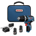 Bosch GSB12V-300B22 12V Max Brushless Lithium-Ion 3/8 in. Cordless Hammer Drill Driver Kit (2 Ah) image number 0