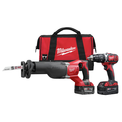 Factory Reconditioned Milwaukee 2694-82 M18 18V Cordless Lithium-Ion 1/2 in. Hammer Drill and Sawzall Recip Saw Combo Kit
