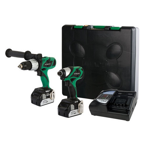 Hitachi KC18DJL HXP 18V Cordless Lithium-Ion 1/2 in. Brushless Hammer Drill and Impact Driver Combo Kit