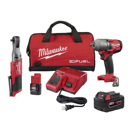 Milwaukee 2591-22 M18 FUEL Brushless Lithium-Ion 1/2 in. Cordless Mid-Torque Impact Wrench / M12 FUEL Lithium-Ion 3/8 in. Cordless Ratchet Combo Kit (2 Ah/5 Ah) image number 0
