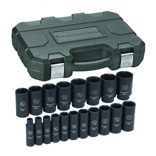 Grey Pneumatic 1719D 19-Piece 3/8 in. to 1-1/2 in. Drive 12-Point SAE Impact Socket Set image number 0