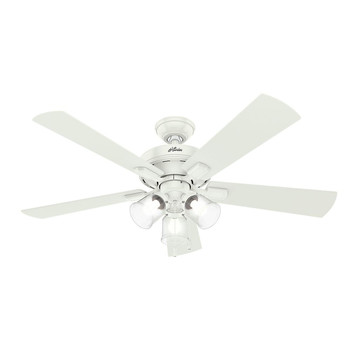 Hunter 54204 52 in. Crestfield Fresh White Ceiling Fan with Light
