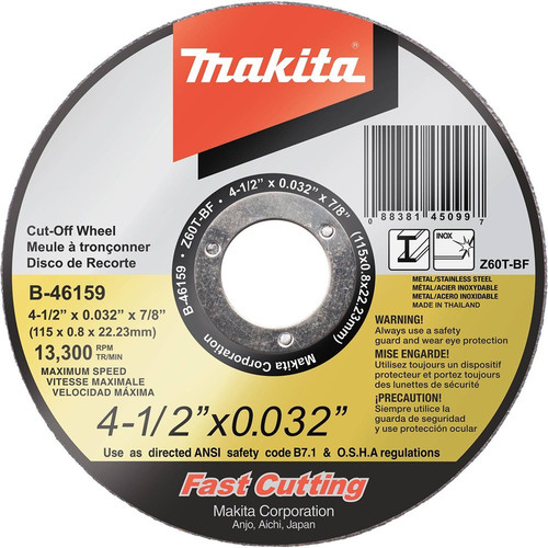 Makita B-46159 4-1/2 in. x .032 in. x 7/8 in. Ultra Thin Cut-Off Grinding Wheel image number 0