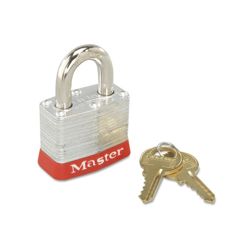 Master Lock 470-3RED 4 Pin Tumbler Steel Body Safety Padlock