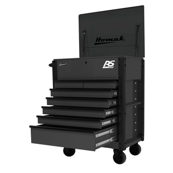 Homak BK06035247 35 in. 7-Drawer Flip-Top Service Cart - Black