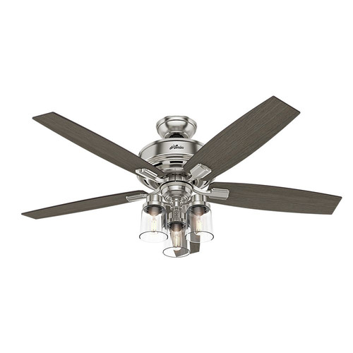 Hunter 54190 52 in. Bennett Brushed Nickel Ceiling Fan with Light and Handheld Remote image number 0
