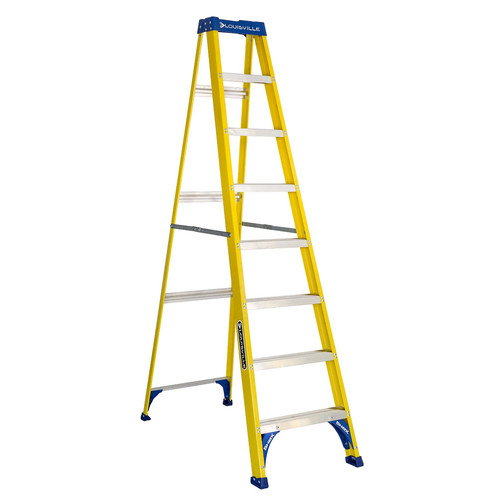 Louisville FS2008 8 ft. Type I Duty Rating 250 lbs. Load Capacity Fiberglass Step Ladder image number 0