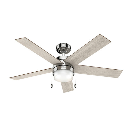 Hunter 59621 52 in. Claudette Polished Nickel Ceiling Fan with LED Light Kit and Pull Chain image number 0
