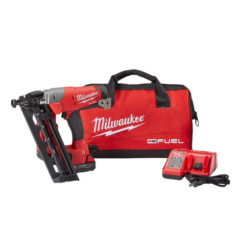 Milwaukee 2742-21CT M18 FUEL Cordless Lithium-Ion 16-Gauge Brushless Angled Finish Nailer Kit image number 0