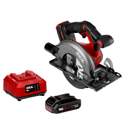 Skil CR540602 PWRCore 20 20V 6-1/2 in. Circular Saw with (1) 2 Ah Lithium-Ion Battery and Charger image number 0