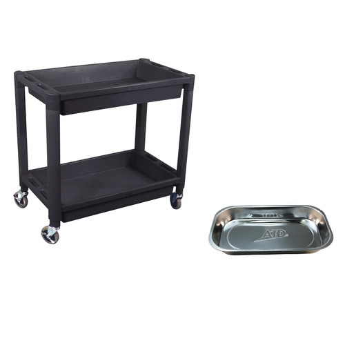 ATD 7016MAG 2-Shelf Heavy-Duty Plastic Utility Cart with FREE Stainless Steel Rectangular Magnetic Tray