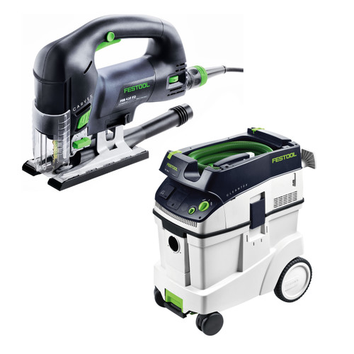 Festool PSB 420 EBQ Carvex D-Handle Jigsaw with CT 48 E 12.7 Gallon HEPA Dust Extractor