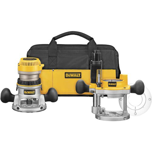 Dewalt DW618PKB 2-1/4 HP EVS Fixed/Plunge Base Router Combo Kit with Soft Case