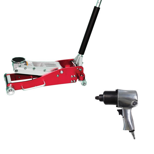 ATD 7343IW 3-Ton Low Profile Aluminum Service Jack w/FREE 1/2 in. Twin-Hammer Air Impact Wrench