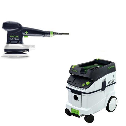 Festool ETS 150/5 EQ 6 in. Random Orbital Finish Sander with CT 36 E 9.5 Gallon HEPA Dust Extractor