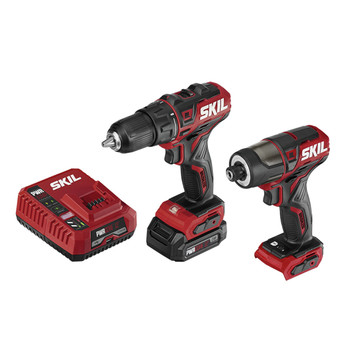 Skil CB742901 PWRCore 12 12V Brushless Lithium-Ion Cordless 1/2 in. Drill Driver / Hex 1/4 in. Impact Driver Combo Kit (2 Ah)