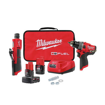 Milwaukee 2459-22 M12 FUEL Brushless Lithium-Ion Cordless 2-Tool Commercial Flat Tire Repair Kit (2 Ah / 4 Ah)