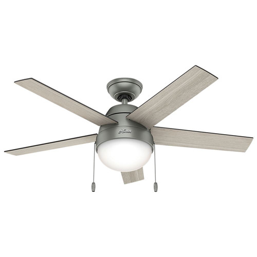 Hunter 59267 46 in. Contemporary Anslee Ceiling Fan with Light (Matte Silver) image number 0