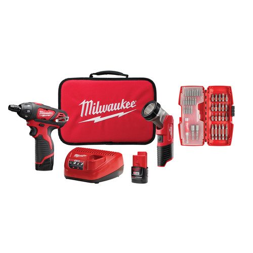 Milwaukee 2482-22 M12 12V Cordless Lithium-Ion 2-Tool Combo Kit with Bit Set image number 0