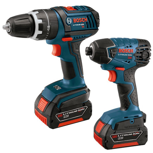 Factory Reconditioned Bosch CLPK241-181-RT 18V Cordless Lithium-Ion 1/2 in. Hammer Drill and Impact Driver Combo Kit