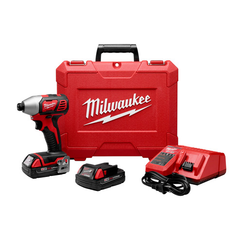 Milwaukee 2656-22CT M18 18V Cordless Lithium-Ion 1/4 in. Hex Compact Impact Driver Kit