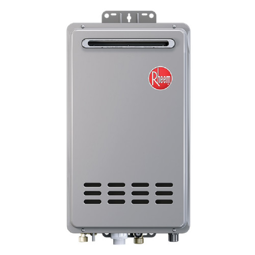 Rheem rtg 64xln 1 outdoor natural gas low nox tankless water heater for 1 2 bathroom homes for Best tankless water heater for 2 bathroom homes