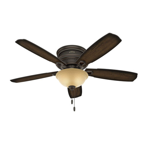 Hunter 53355 52 in. Traditional Ambrose Bengal Ceiling Fan with Light (Onyx) image number 0