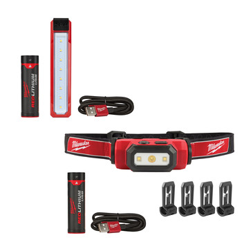 Milwaukee 2112-2111 USB Rechargeable Rover Pocket Flood Light and Hard Hat Headlamp Bundle